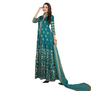 Semi Stitched Embroidery Fancy Banglori Silk Anarkali Salwar Suit