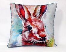 Rabbit Painting Cotton - Viscose Velvet Cushion Cover
