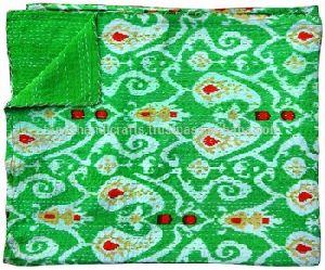 Ikat Print Handmade Kantha Quilt Blanket Throw Vintage Quilt Bedspread