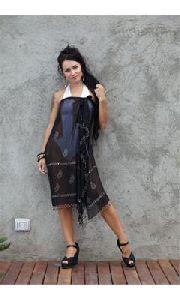 Glitter Block Print Georgette Pareo