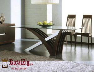 Contemporary Glass Top Dining Table Solid Wood
