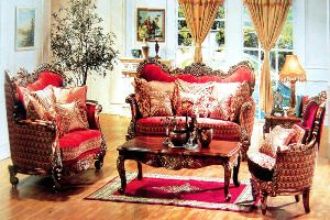 Italian Designer Six Seater Wooden Hand-carved Sofa Set