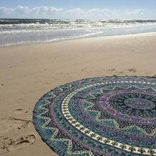 Multi Colour Mandala Print Cotton Round Beach Towel