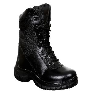 High Ankle Black Commando Boots