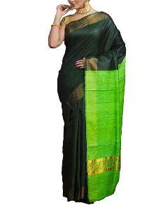 Silk Staple Ghicha Pallu With Zari Border Saree