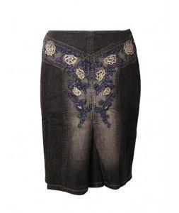 Women Denim Embroidered Skirt