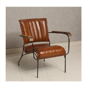 Indian style Leather Iron Living Room Chair
