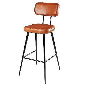 Stylish Aged Leather Iron Bar Chair