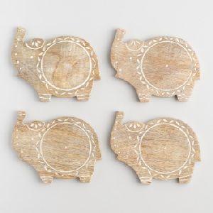 Carved Wood Elephant Coasters