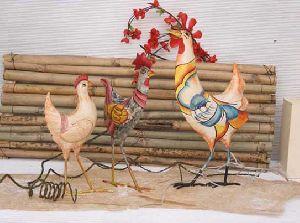 Colourful Hen Bird Figurine Gift Article