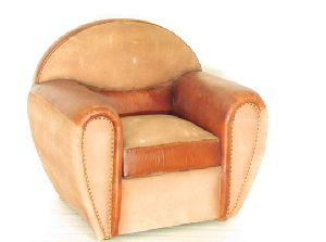 Fusion Pink Leather One Seater Sofa