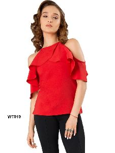 Wt Red S Size Heavy American Crepe Designer Western Tops Collection