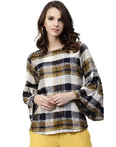 Jaipur Kurti Women Beige Checked Straight Rayon Top
