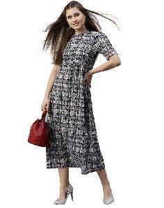 Jaipur Kurti Women Black Abstract A-line Cotton Dress