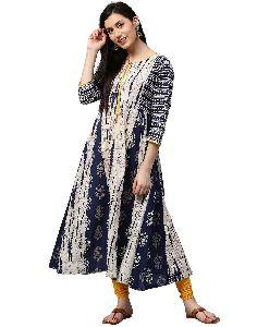 Jaipur Kurti Women Indigo Fusion Of Prints Anarkali Cotton Kurta