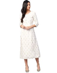 Jaipur Kurti Women Off White Geometric A-line Rayon Dress
