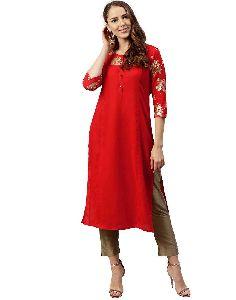 Jaipur Kurti Women Red Floral Straight Rayon Kurta