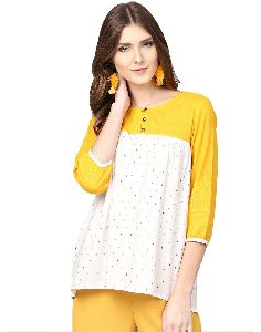 Jaipur Kurti Women White Geometric A-line Rayon And Cotton Slub Top