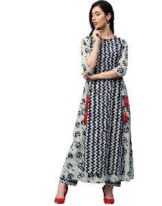 Zig-zag Print Embroidered And Double Layered Long Cotton Kurta With Palazzo