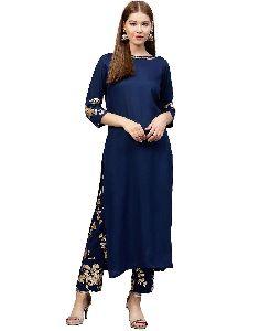 Avy Blue Ethnic Motifs A-line Rayon Kurta With Pant
