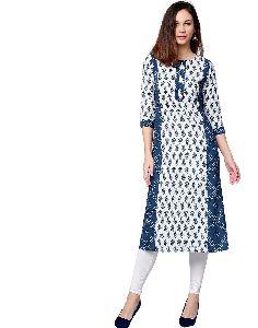 Blue Ethnic Motifs Straight Cotton Kurta