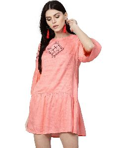Coral Solid A-line Dobby Dress