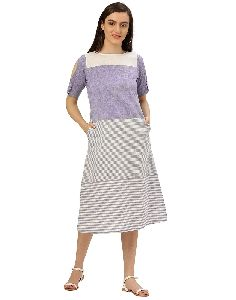 Jaipur Kurti Women A-line Blue And White Self Print Cold Shoulder Handloom Dress