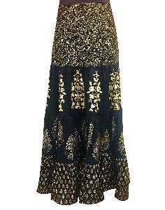 Women Black Ethnic Motifs Straight Cotton Skirt