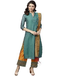 Jaipur Kurti Women Green And Yellow Solid Straight Chanderi Kurta With Palazzo Dupatta