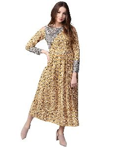 Jaipur Kurti Women Yellow Floral A-line Rayon Dress