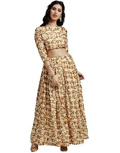 Jaipur Kurti Women's Cream Pure Silk Crop Top