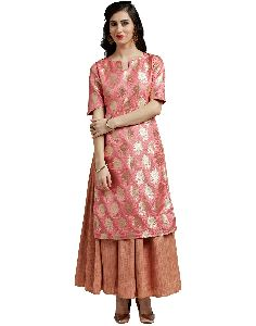 Jaipur Kurti Womens Pink Kurta With Jute Skirt