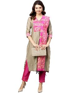 Kurti Women Beige And Pink Solid Straight Chanderi Kurta With Pant Dupatta