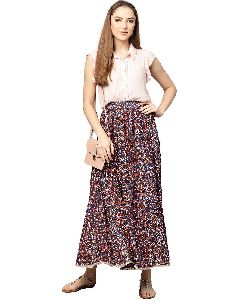 Kurti Women Multi Geometric Straight Rayon Skirt