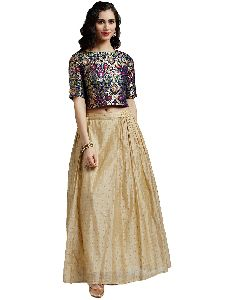 Multicolor Pure Silk Brocade Top With Chanderi Skirt
