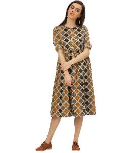 Mustard Geometrical Print Cotton Kantha Dress