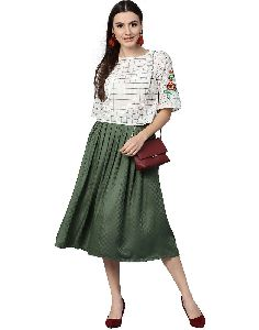 Off White Green Geometric Straight Cotton Dobby Top With Skirt
