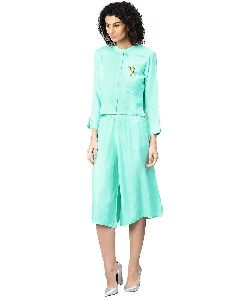 Turquoise Blue Embroidered Straight Dobby Top With Culottes