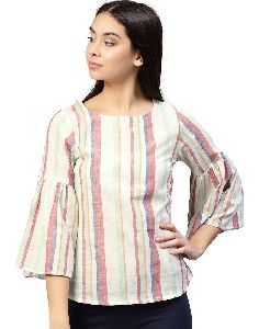 Women White Stripes Straight Rayon Top