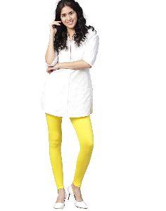 Women Yellow Solid Cotton Lycra Leggings