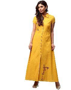 Yellow Solid Embroidered A-line Cotton Slub Kurta