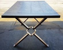 Industrial Vintage Dining Table With Cast Iron Leg