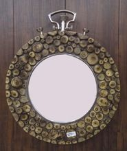 Antique Wooden Frame Natural Wood Metal Handle Decorative Wall Mirror