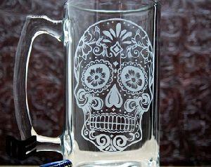 Etched Glass Mug