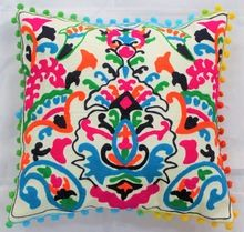 Cotton Embroidery Floral Decorative Throw Pillow Cover