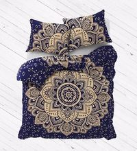Metallic Gold Ombre Mandala Full Size Comforter Hippie Boho Cotton Doona Duvet Cover