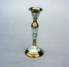 Brass Candle Holder With Mother Of Pearl Finish