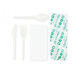 Pla Cutlery Set White