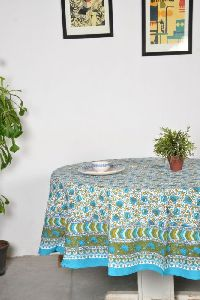 Floral Jaal Blue Round Table Cover