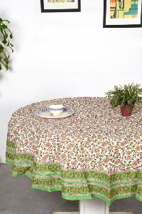 Mughal Green Round Table Cover 4 Seater